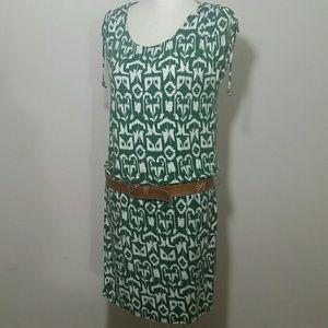 Michael Kors Sundress dress green white midi